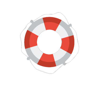 Circular red and white life raft